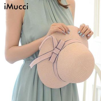ONETOW iMucci Women Summer Beach Hats Wave Edge Sunshade Ladies Straw Hat Sombreros Mujer Sunhats With Ribbon Bow