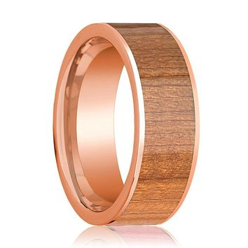 Mens Wedding Band Polished Flat 14k Rose Gold Wedding Ring with Cherry Wood Inlay - 8mm