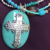 Turquoise Jewelry Set Seed Bead Necklace Cross Serenity Prayer Pendant Turquoise Necklace Pendant Native American Jewelry Christian