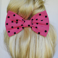 Hot Pink and Black Polkadots Hair Bow Clip
