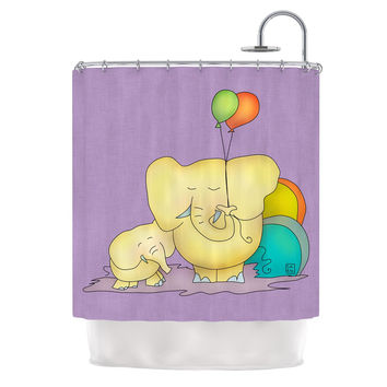 """Carina Povarchik """"Party Time"""" Purple Yellow Shower Curtain"""