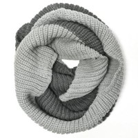 Wrapables Thick Knitted Winter Warm Infinity Scarf - Light and Dark Grey