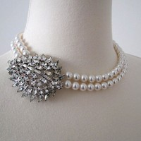 The Teardrop Pearl Bridal Necklace with Vintage by MercuryJane