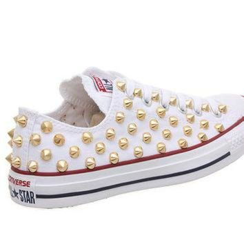ICIKHD9 Studded Converse, Converse White Low Top with Gold Cone Studs by CUSTOMDUO on ETSY