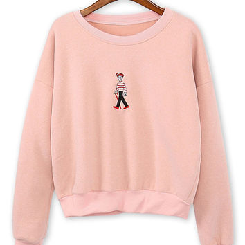 Pink Cartoon Embroidery Crew Neck Long Sleeve Sweatshirt