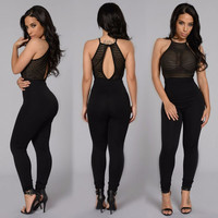 2016 Black Stripe Mesh Womens Playsuit Summer Sexy O Neck Sleeveless Backless Clubwear Bodysuit Long Full Jumpsuit Rompers