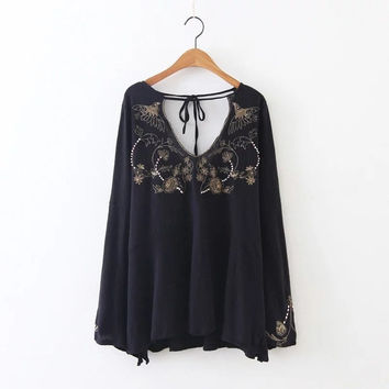 Blouses embroidery cotton boho shirts hippie casual blouses fall long sleeve top shirts