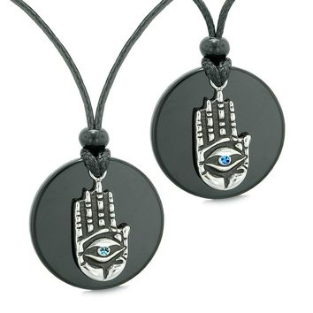 All Seeing Feeling Buddha Eye Hamsa Hand Love Couple Best Friend Agate Blue Medallion Necklaces