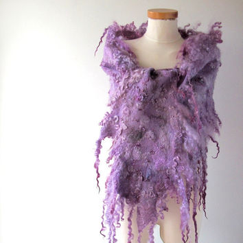 Felt Fur Curly scarf lilac purple  Hand Felted Pure Real Wool Fleece by galafilc Organic and Cruelty Free