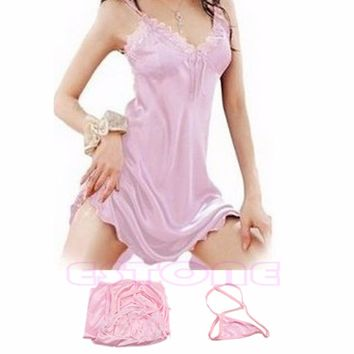 Charming Sexy Sleepwear Nightgown Dress Women Satin Silk Babydoll Lace Robes Sleep Shirt