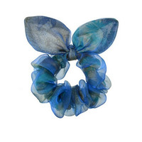 Women  Lace Bow Lovely Cute Hair Tie (Size: M, Color: Blue) = 1838987076