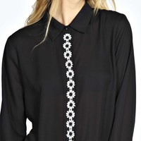 Lily Long Sleeve Daisy Placket Trim Shirt