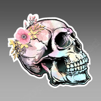 Watercolor Skull with delicate flower vinyl car bumper sticker / decal. Approximately 104 x 92 mm  ( 4 x 3.6 inches)