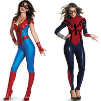 Free Shipping Red and Blue Adult Spandex Spiderman Costume Suit Cosplay Halloween Costumes for Women