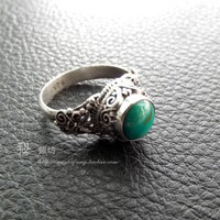 Peruvian handmade sterling silver natural turquoise square silver wire inlay ring-Nepal transit of native silver opened games