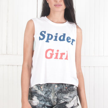 Spider Girl Crop Muscle Tee Thrashed