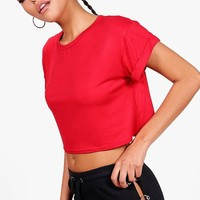 Sarah Basic Crop Roll Back Sleeve Tee | Boohoo