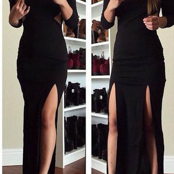 Black Long Sleeve Double Side Slit Maxi Dress with Mesh Accent