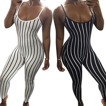 New Fashion Women Spaghetti Strap Striped Bodycon Jumpsuit Romper Casual Clubwear Jumpsuit
