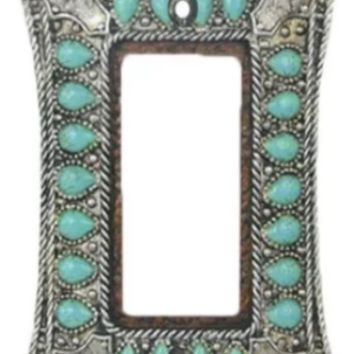 Cowgirl Kim Turquoise and Silver Single Rocker Switch Plate
