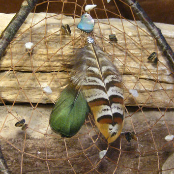 Native American Dream Catcher with Abalone Hand Woven Teardrop from The Hidden Meadow