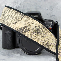 dSLR Camera Strap, Old World Map, Nautical Map, Vintage, Pocket, Mens Camera Strap, Canon camera strap, Nikon camera strap,198 ww
