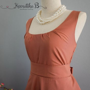 My Lady Reddish Brown Nude Dress Spring Summer Dress Reddish Brown Party Dress Tea Dress Bridesmaid Dress Vintage Design Dress XS-XL