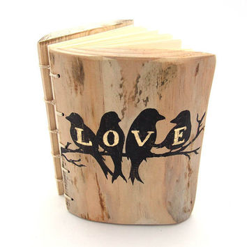Personalized Rustic WEDDING GUEST BOOK Wood Journal  with Love birds