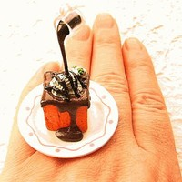Chocolate Sauce Ice Cream Bread Floating Miniature Food Ring