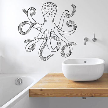 Wall Decal Vinyl Sticker Decals Art Home Decor Design Murals Octopus Tentacles Fish Deep Sea Ocean Animals Fashion Bedroom Bathroom Dorm AN2