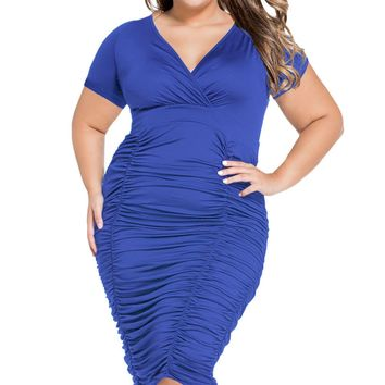 Chicloth Blue Pleated Curvaceous Midi Dress