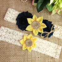 Sunflower Wedding Garter Set,Rustic Country Chic Lace Wedding Garter Set,Keepsake & Toss garter Set