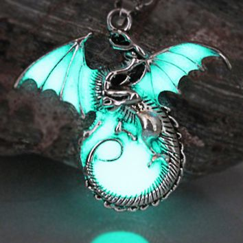 Atomic Silver Glow in the Dark Night Dragon Necklace