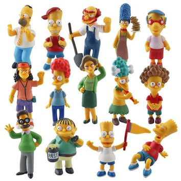 14Pcs The Simpsons Family Action Figure Set 6-12cm PVC Homer Marge Bart Lisa Maggi Model Toy For Kids