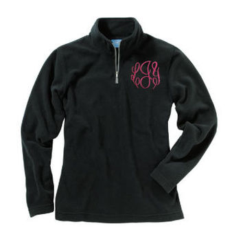 Women's Monogrammed Fleece Quarter Zip Pullover