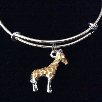 Giraffe Silver Expandable Charm Bracelet Adjustable Stacking Bangle Gift Trendy Teenager
