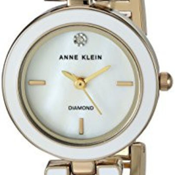 Anne Klein Women's AK/2622WTGB Diamond-Accented Gold-Tone Crossover Bangle Watch