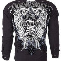 Licensed Official Xtreme Couture AFFLICTION Mens BUTTON DOWN Shirt KINGS FALL Skulls UFC Roar $78