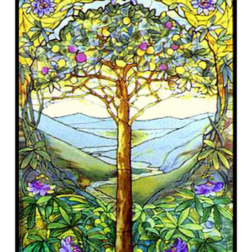 The Tree of Life inspired by Louis Comfort Tiffany  Counted Cross Stitch or Counted Needlepoint Pattern