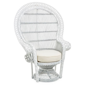 Peacock Chair, White, Accent & Occasional Chairs
