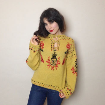 70's COZY KNIT SWEATER - pull over - mustard, red, black - fish, pomegranate flowers and a crown - fits most sizes