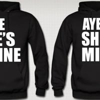 Couple's Aye He's Mine/ Aye She's Mine Hoodie Sweatshirt Duo in Black, Blue, Red and Gray