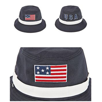 Mens Womens Feltics American Flag USA Satin Bucket Bowler Boonie Cap Outdoor Hat