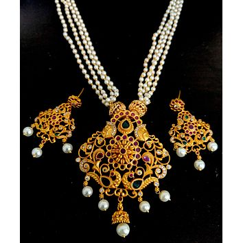 Gold Matte finish Peacock Pendant with multi stranded pearl chain Necklace and Earring set