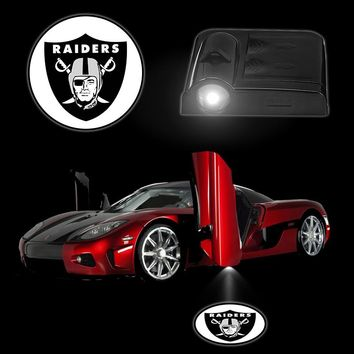 2PCS/Set Car Lights Wireless Sensor LED Welcome Projector Logo Ghost Shadow Lamp Car Door Lamps Battery Operated OAKLAND RAIDERS