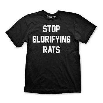 "Omerta ""Stop Glorifying Rats"" Black Shirt"