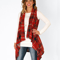 Falling For Flannel Vest in Red