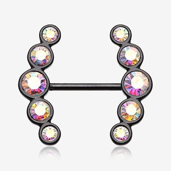 A Pair of Colorline Sparkle Ray Multi-Gem Nipple Ring