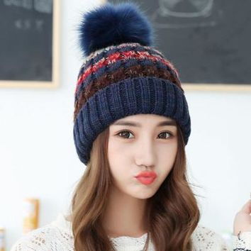 Korean style big wool ball mixed color knitting, outdoor cashmere thickening wool cap, warm autumn winter lady hat