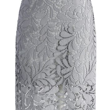 Foliage Lace Crochet Pencil Skirt in Grey